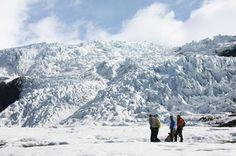 Hiking at Vatnajökull - largest and most voluminous Icelandic glacier
