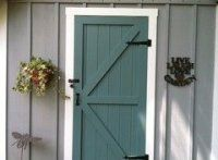 9 Daring Colors for Your Front Door Garden shed with door in Caribbean Teal by Benjamin Moore. Siding is Timber Wolf by BM. Planning to use the same door color on my white house with Gray BM shutters. Teal Front Doors, Best Front Door Colors, Best Front Doors, Exterior House Colors, House Shutters, House Paint Exterior, Paint Colors For Home