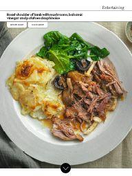 Waitrose-April-2017 April 2017: Roast shoulder of lamb with mushrooms, balsamic vinegar and potatoes dauphinoise