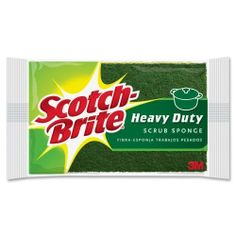 "Scotch-Brite Scrub Sponge - 2.8"" x 4.5"" - 1Each - Green, Yellow by 3M. $4.43. Scotch-Brite Scrub Sponge - 2.8"" x 4.5"" - 1Each - Green, Yellow Heavy-Duty Scrub Sponge is designed to provide fast cleanups of tough jobs. Scrub sponge quickly removes tough, baked-on messes. Sponge is shaped to fit comfortably in the hand. Width: 4.5""Country of Origin: CanadaColor: Green, Yellow. Save 18%!"