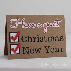 Tick all the boxes! Christmas & New Year Card - Free Silhouette Studio File at Getsilvered.com