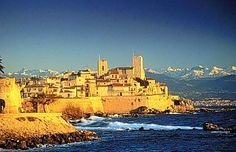 Sunset on ancient city of Antibes, Cote d'Azur