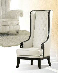 White High Back Accent Chair Lt 3 Acme Furniture Solid Wood Bedroom