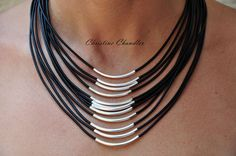 Sterling Silver and Leather Necklace 12 Strand Leather and