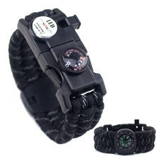 Rope Bracelet Men Multifuctional LED Light Thermometer Paracord Survival Bracelets Outdoor Camping Compass Bracelets For Women