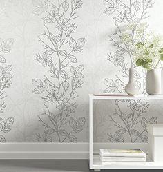 Tapete Ambiance >< wallpaper >< papier peint >< white >< silver