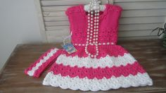 Pink and white spring dress crochet dress 2T headband by ZINULIS, $55.00