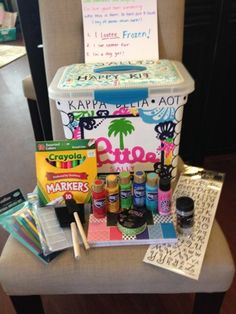 Make a happy kit for you little with this helpful DIY Happy Kit guide. Put everything your little will need to start crafting in a special one of a kind box. http://blog.dormify.com/style-notes/sorority-crafting-happy-kit