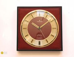 Elegant JUNGHANS Mid century Wall Clock Leather Brass Nelson