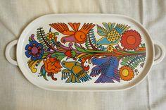 vintage villeroy and boch acapulco pattern oval ceramic tray. $50.00, via Etsy.