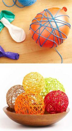 einfach Garn mit Klebstoff um den Ballon umwickeln