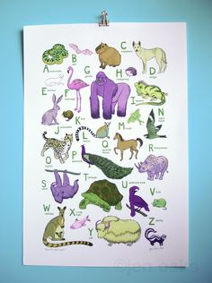 Earth's Animals ABC Print by jenoaks #ABCs #Animals #jenoaks