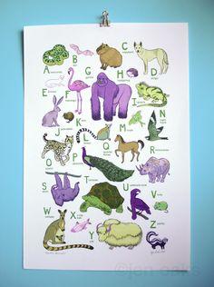 Earth's Animals ABC Print by jenoaks #ABCs #Animals #jenoaks