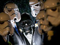 Darth Vader and his groomsmen ~ we ❤ this! moncheribridals.com