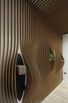 Panneau décoratif mural / en bois / en stratifié / 3D ATLANTIC ...