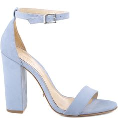 BLOCK HIGH HEEL ANKLE STRAP SANDAL - 4 Inch Heel - Adjustable Ankle Strap - Leather Insole - Leather Outsole - Upper: Nobuck