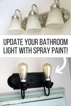 New Ideas Farmhouse Lighting Fixtures Diy Bathroom Makeovers Painting Light Fixtures, Diy Light Fixtures, Bathroom Light Fixtures, Bathroom Lighting, Light Fixture Makeover, Kitchen Lighting, Bathroom Light Bar, Ceiling Fan Makeover, Diy Bathroom Vanity