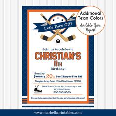 Hockey Birthday Invitation/Hockey Invitation/Hockey Party Invite/Oilers Invitation/Hockey Invite/Hockey Theme Party/Ice Hockey Invitation Hockey Birthday, Hockey Party, 11th Birthday, Ice Hockey, Digital Invitations, Birthday Invitations, Invitation Design, Invite