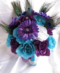 Peacock Flower Arrangements   ... flowers TURQUOISE PURPLE PLUM Peacock Feathers bridal arrangements