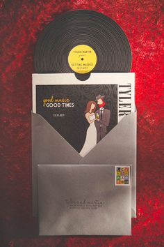 A Modern New Years Eve Wedding: Tyler Martin. If you want to customize a good-looking vinyl record and vinyl packaging, visit www.unifiedmanufacturing.com.