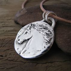 Fine Silver Handmade Rustic Horse Pendant with by SilverWishes