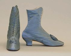 1870s light blue silk lace up booties, American or European.