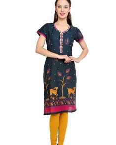 Excellent fabric at least price.  Whatsapp 9718721059 or buy from our eBay shop.Black green multicolour printed Kurti with mirror work half sleeves cotton
