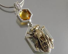 HONEY BEE silver and gold pendant with citrine and white sapphires Ready to ship Bee Jewelry, Jewelry Art, Unique Jewelry, Natural Jewelry, Bee Wings, White Sapphire, Gold Pendant, Jewelery, Jewelry Making