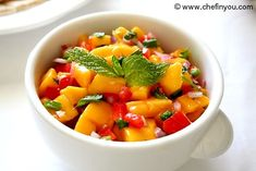 Fresh Mango Salsa Recipe ~ great recipe for the sweet & savoury. This salsa goes beautifully with chicken or beef. The flavours will mingle lovingly in your mouth. (add a touch of sesame oil)