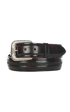 Lucchese Men's Black Cherry Hobby Stitched Western Belt | Cavender's