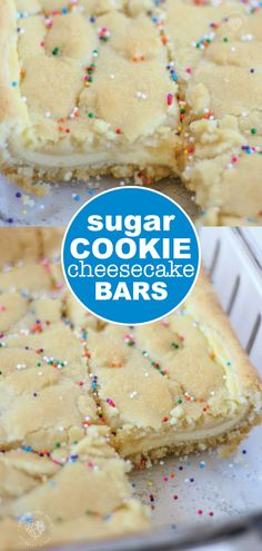 Sugar Cookie Cheesecake Bars A dessert that has the best of both worlds! Cookie Dough Vegan, Nutella Cookie, Sugar Cookie Dough, Sugar Cookies Recipe, Cookie Dough Bars, Sugar Cookie Cheesecake, Cheesecake Bars, Cheesecake Recipes, Cheesecake Cupcakes