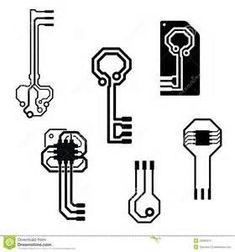 Vector Electronic Circuit Keys Stock Vector - Illustration of information, connection: 34280312 Circuit Board Tattoo, Circuit Board Design, Web Design, Logo Design, Design Tech, Body Art Tattoos, Cool Tattoos, Tatoos, Computer Tattoo