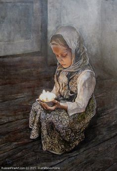 Girl With The Candle oil on canvas by Kuznetsova Polina