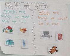 Needs and Wants Picture Sort and Writing Sheets for Kindergarten & First Grade Kindergarten Anchor Charts, Kindergarten Social Studies, Kindergarten Science, Teaching Social Studies, Social Studies Communities, Social Studies Resources, Community Helpers Kindergarten, Holiday Homework, Kindergarten Christmas