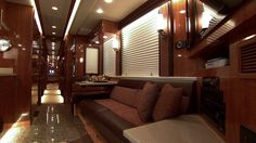 This brown interior with gloss finish was designed by Hemphill Brothers Coach Company in Nashville, TN.