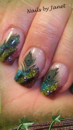 Image via peacock nail art tutorial Fancy Nails, Bling Nails, Diy Nails, Cute Nails, Pretty Nails, Peacock Nail Art, Peacock Colors, Peacock Nail Designs, Peacock Makeup