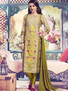 Casual Cotton Churidar Suit by Shagufta...  #rajwadi #readytowear #suit #shagufta #partywear #churidarsuitonline #designersuits #casualwear