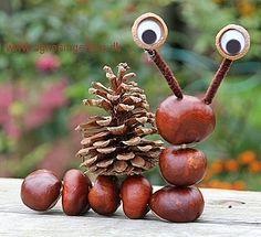 Chestnuts and Co. - Fall decorations with chestnuts .-Kastanienmännchen und Co. – Herbstdeko basteln mit Kastanien und Nüssen Chestnut man – autumn decoration tinker with chestnut – snail - Easy Crafts For Kids, Diy For Kids, Diy And Crafts, Arts And Crafts, Creative Crafts, Easy Knitting Projects, Knitting For Kids, Autumn Crafts, Nature Crafts