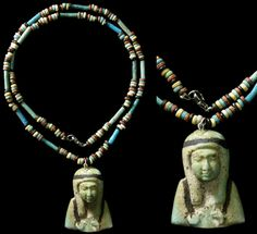 Faience beads dating from Egypt's 26th Dynasty, 664-535 BC.