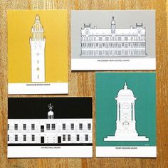 Wainhouse Tower, The Piece Hall, Crossleys Grammar School, Thrope Fourtain, in Halifax. Illustration of local landmarks by Fi From Fi&Becs Design ( Grammar School, West Yorkshire, Local Artists, Monochrome, Fountain, Taj Mahal, How Are You Feeling, Tower, Packing