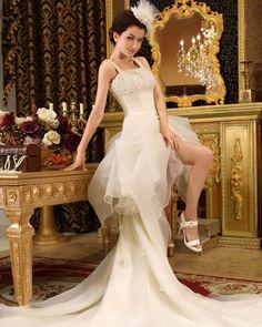 Organza Beading & Ruffle Spaghetti Straps Asymmetrical High Low Mini Wedding Dress