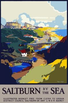 Vintage Travel Poster - UK - Saltburn by the Sea (Redcar and Cleveland) - Railway Posters Uk, Train Posters, Railway Posters, Retro Posters, British Travel, British Seaside, British Isles, Frank Mason, Vintage Travel Posters