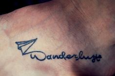 Wanderlust fod tattoo paperplane tattoo all Black