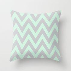 Mint & Gray Chevron Throw Pillow by daniellebourland - $20.00