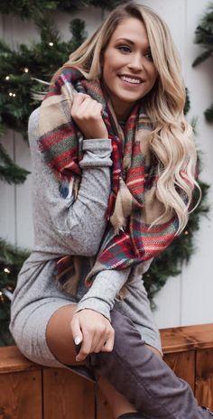 #winter #fashion  Grey Knit Dress, Plaid Scarf, Dark Grey OTK Boots