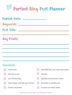 Helpful SEO for beginners tips. This post will show you how to craft the perfect blog post for search engines. Includes a free blog post planner printable.