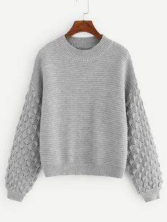 lantern Sleeve Mixed Knit Sweater -SheIn(Sheinside) - Lilly is Love Grey Fashion, Autumn Fashion, Petite Fashion, Knitting Patterns, Crochet Patterns, Pullover Mode, Sweater And Shorts, Big Sweater, Jumper