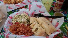 Green chilli and cheese tamales , mexican cole slaw , spanish rice  . Sooooo Goooood a must try
