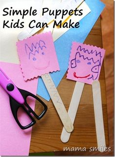 Simple puppets kids of any age can make. Older students would make more sophisticated puppets, of course. Rainy Day Activities, Creative Activities, Creative Kids, Activities For Kids, Kids Crafts, Puppets For Kids, Puppet Crafts, Puppet Making, Art Plastique