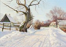1242/89 - Harald Pryn: Winter day in Kajerød and A forest scene at spring time. Signed Harald Pryn. Oil on canvas. 50 x 70 cm and 33 x 42 cm. (2).